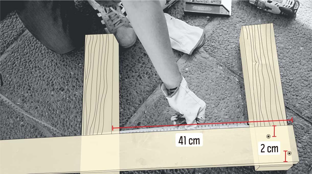 medir distancia entre los pilares para la estructura vertical