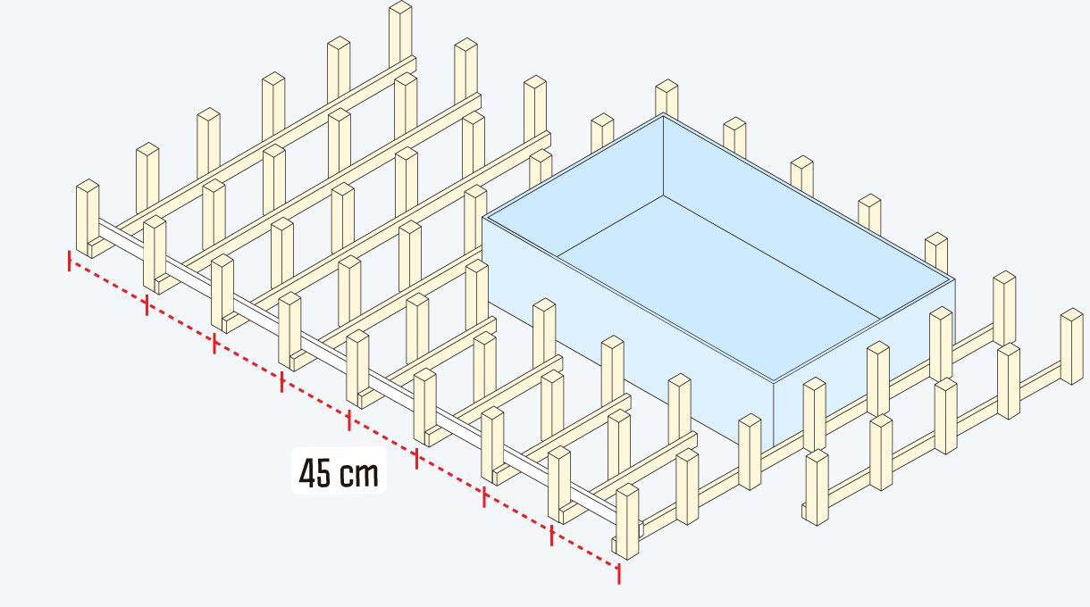 estructura vertical del deck de madera con la piscina