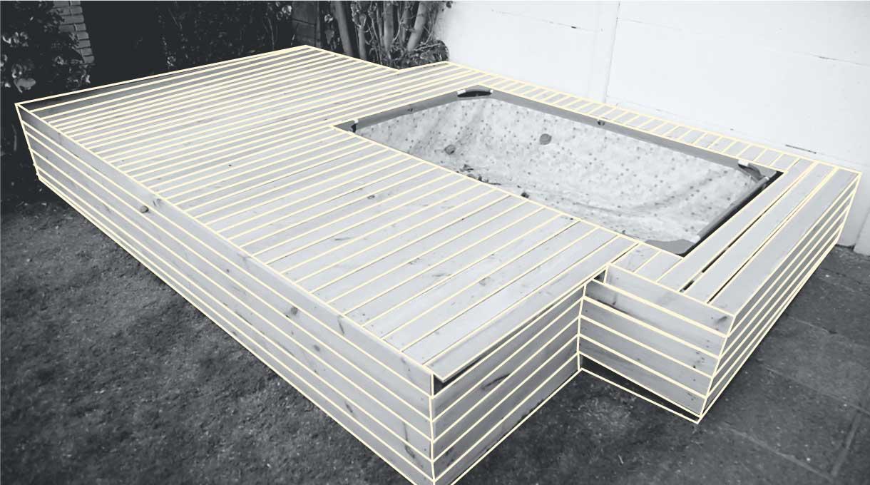 revestimiento superior y lateral del deck de madera instalado