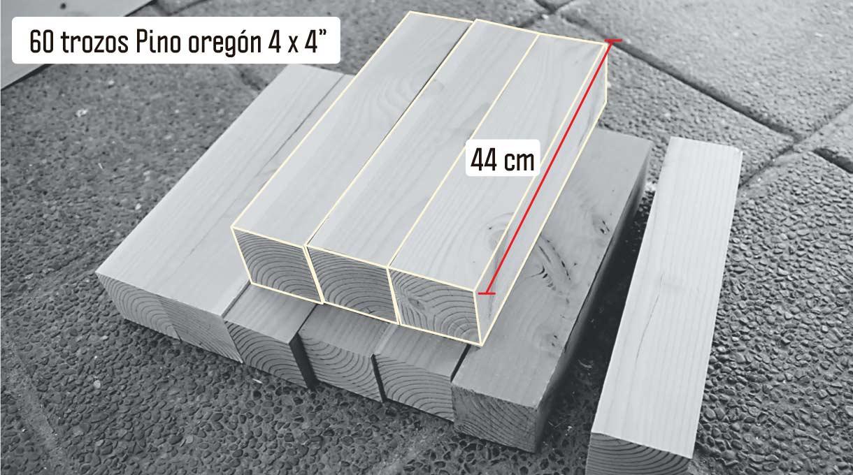 60 trozos de 44 cm de pino oregón para los pilares del deck de madera