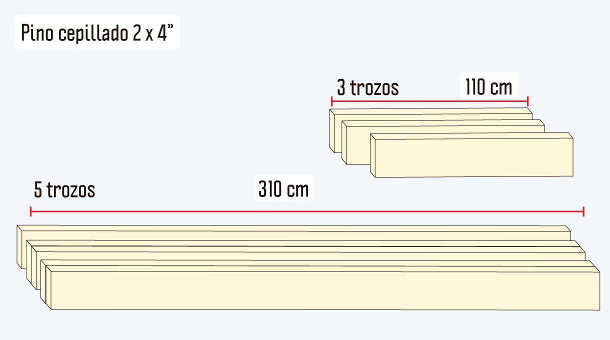 """trozos de pino cepillado de 2 x 4"""" para el entramado del deck de madera"""