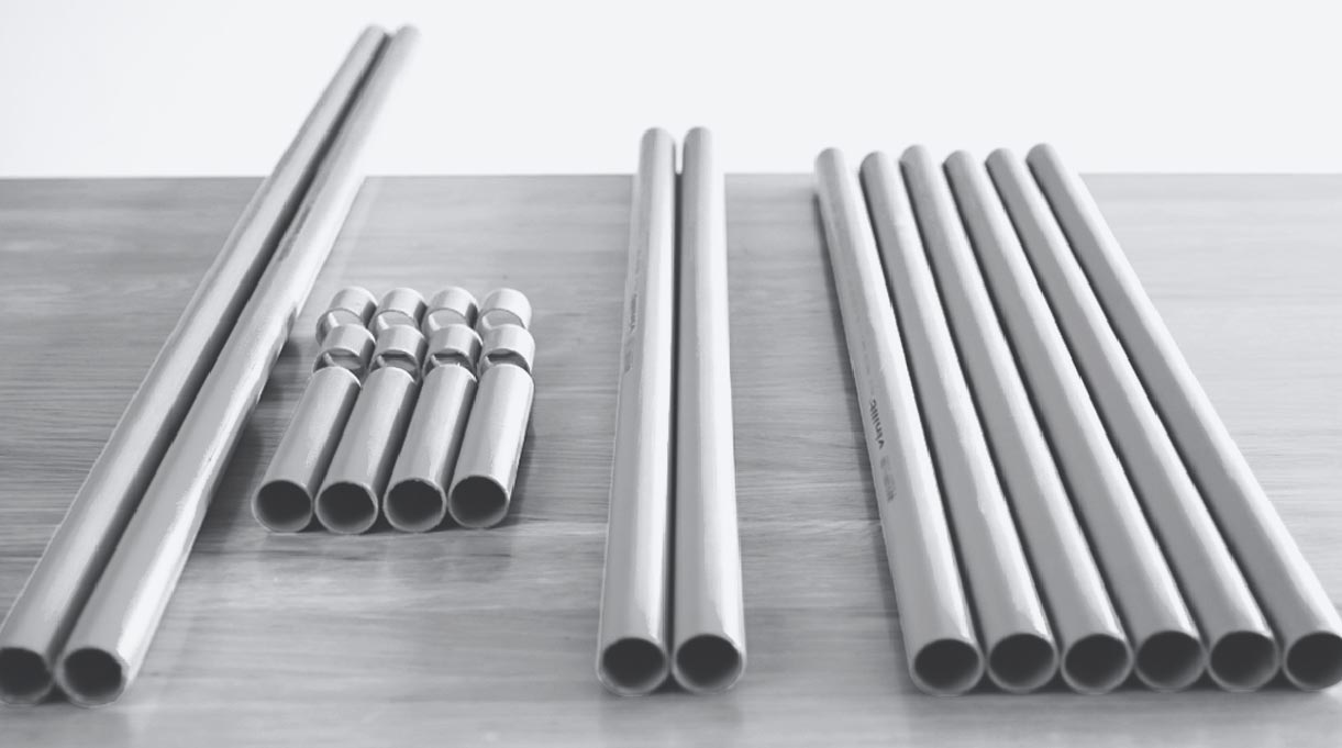 cortes de tubos de PVC