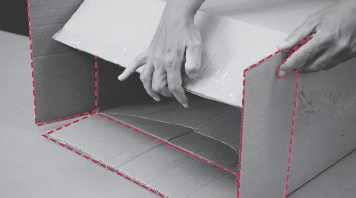 doblar aletas para preparar la caja para hacer el velador