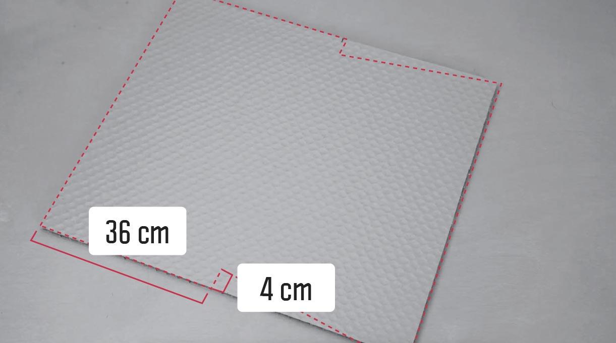 marcar diagonales en la trasera y en el frente