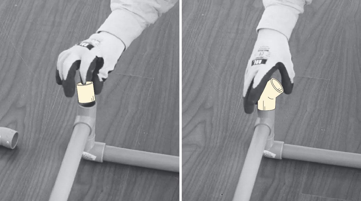 agregar tubos a la tee para armar la parte posterior