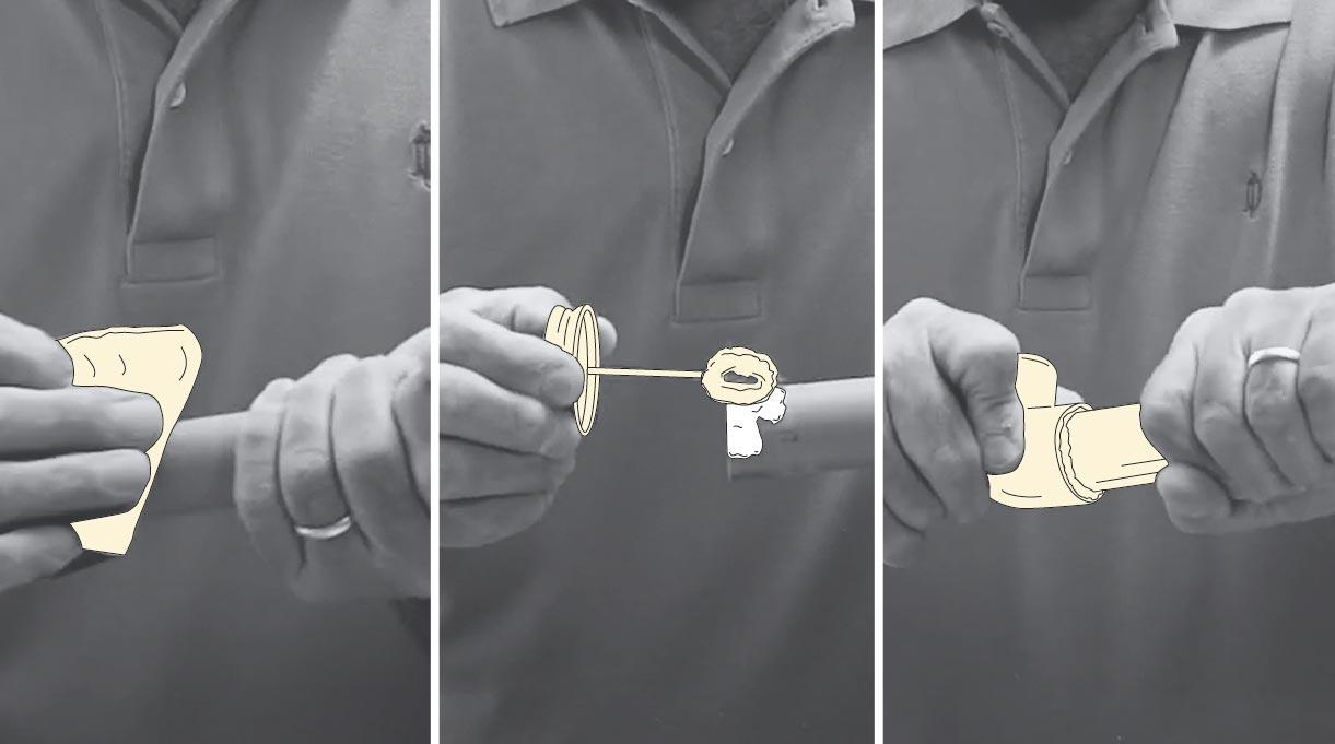 pegar las uniones con pegamento para PVC
