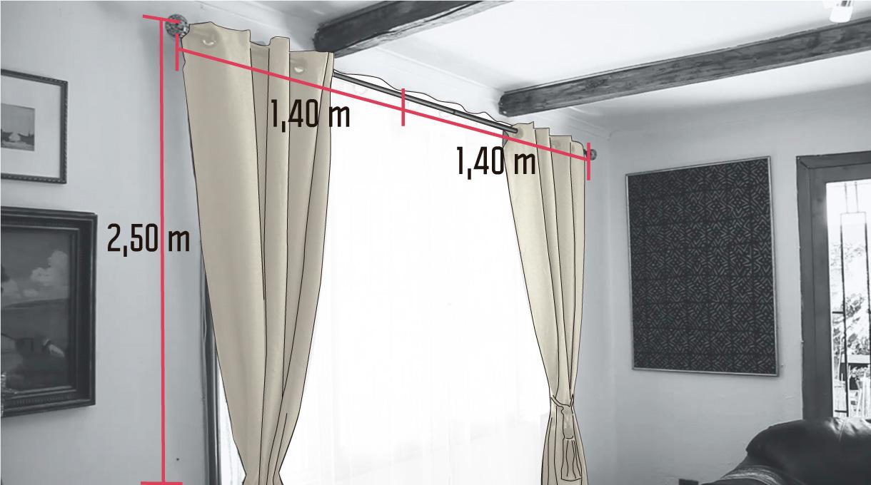 medidas de cortina de doble barra para el comedor