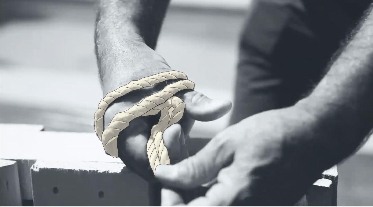 hacer un nudo con cordel yute para colgar el organizador