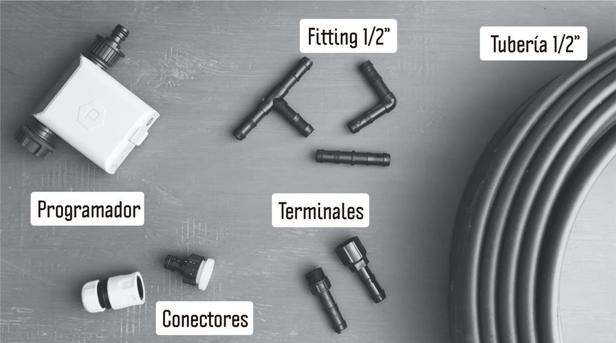 fittings, tubería, terminales, conectores y programador