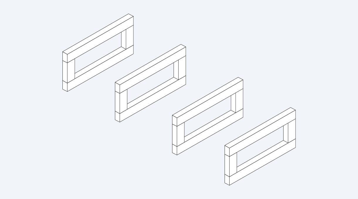 cuatro estructuras para formar el sillón en L