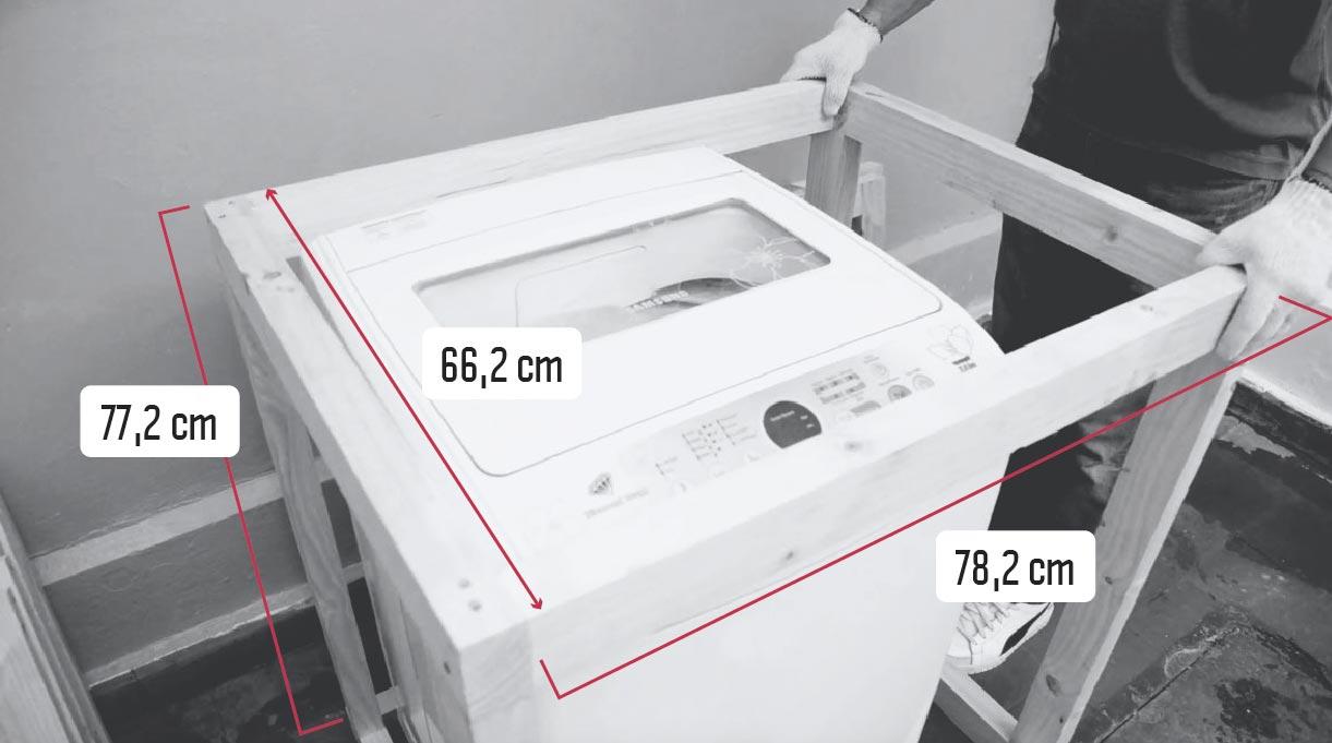 Estructura de pino cepillado para la lavadora