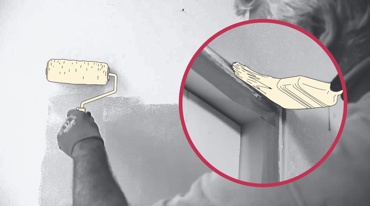 Pintar con rodillo la pared y pintar con brocha donde el rodillo no llega