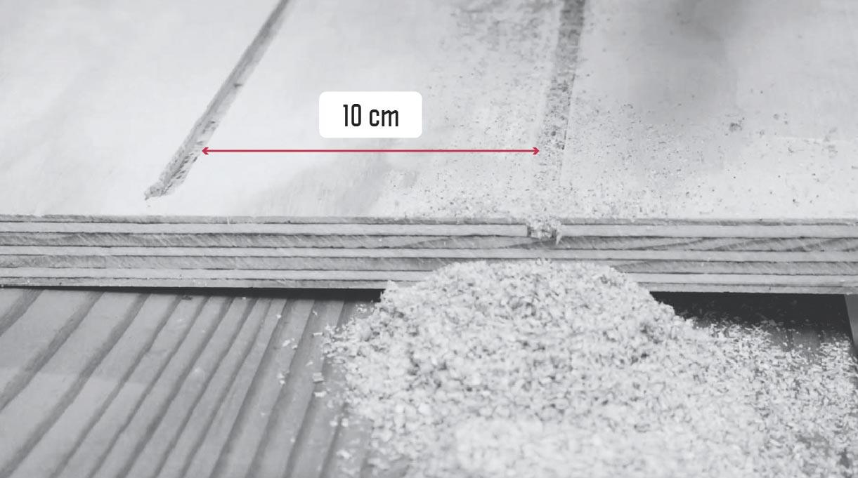 separación de 10 cm entre las canterías del terciado