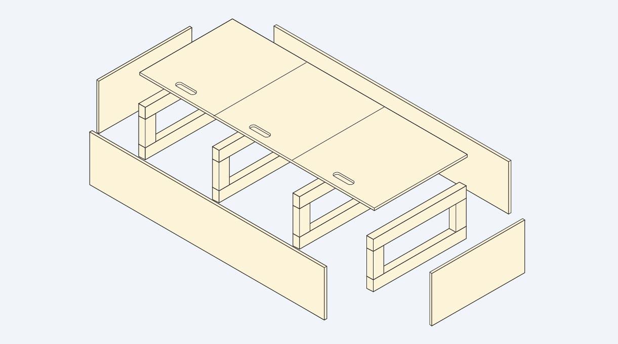 armar la base y las 4 estructuras del mueble en L