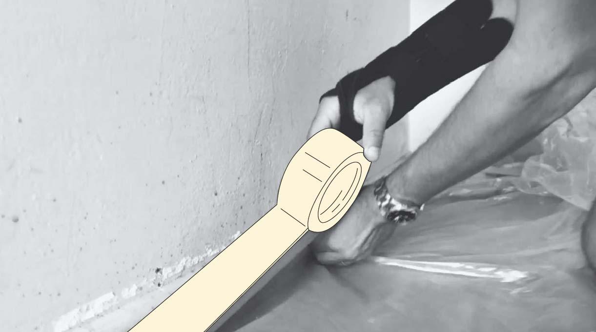 Enmascarar los bordes del piso para pintar los muros y el cielo