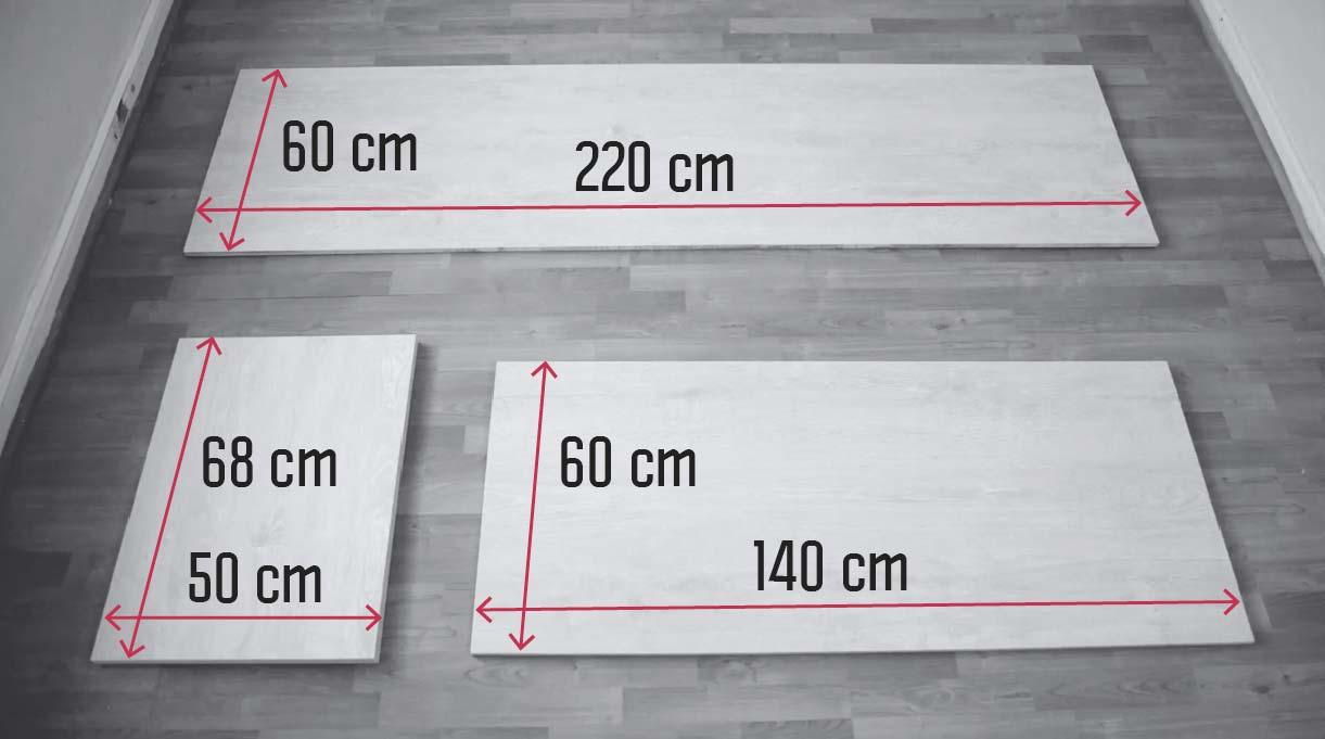 Medidas de las maderas para construir el escritorio