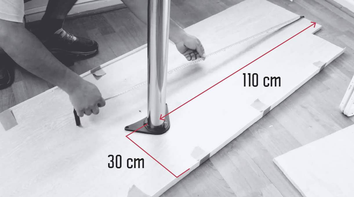 medidas para ubicar la pata regulable para el escritorio