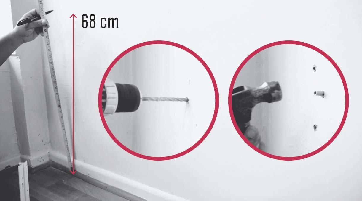 medida para instalar las escuadras en el muro