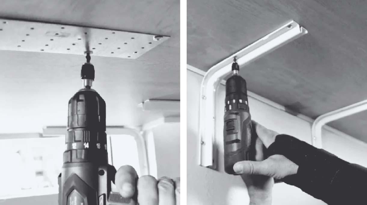 instalar platos para la unión por debajo de las cubiertas y fijar las escuadras