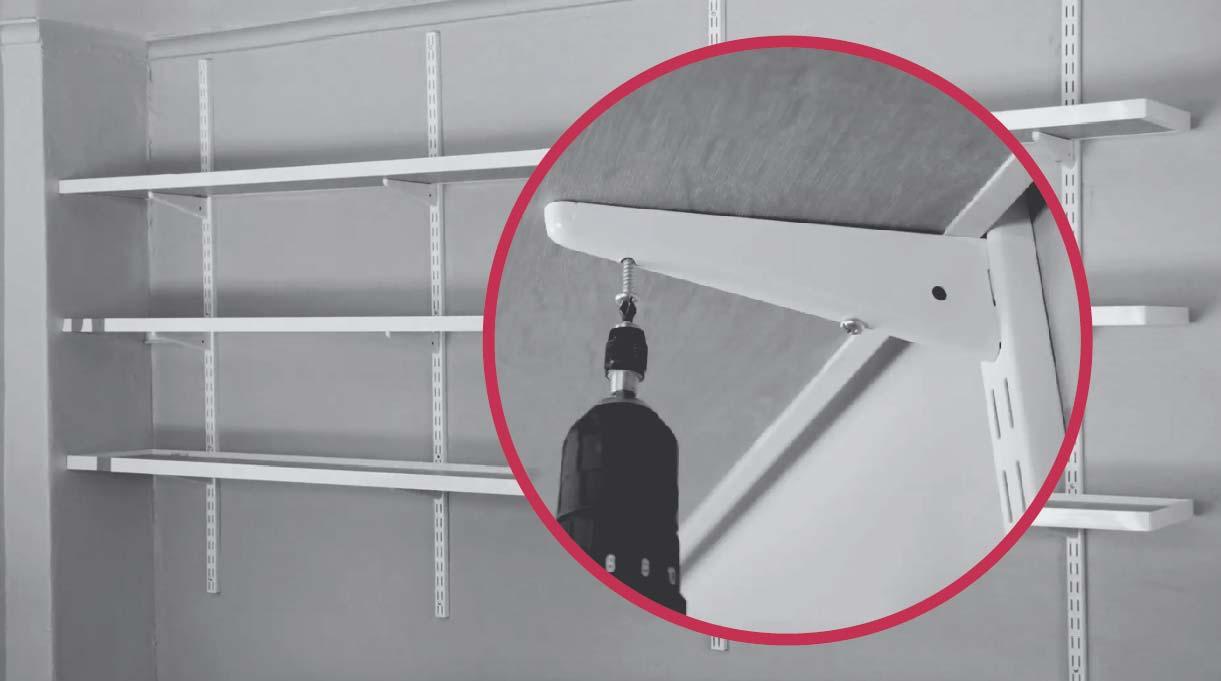 atornilla el soporte de las repisas con taladro inalámbrico