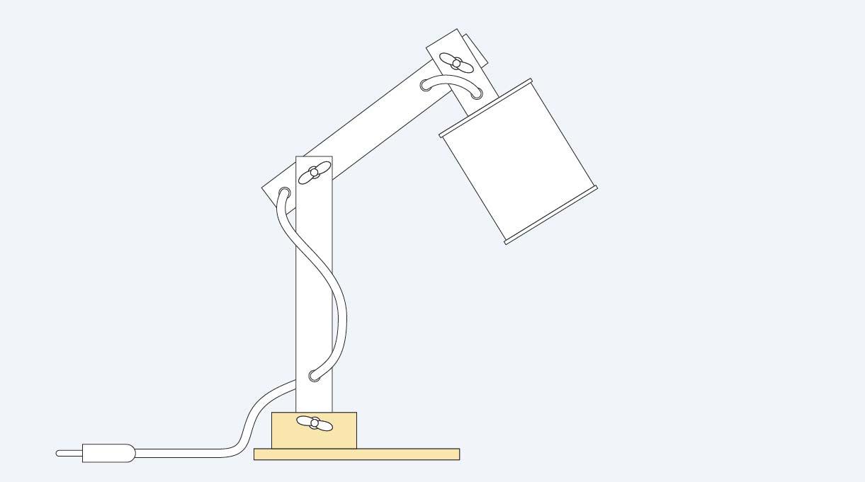 base y soporte de la lámpara reciclada