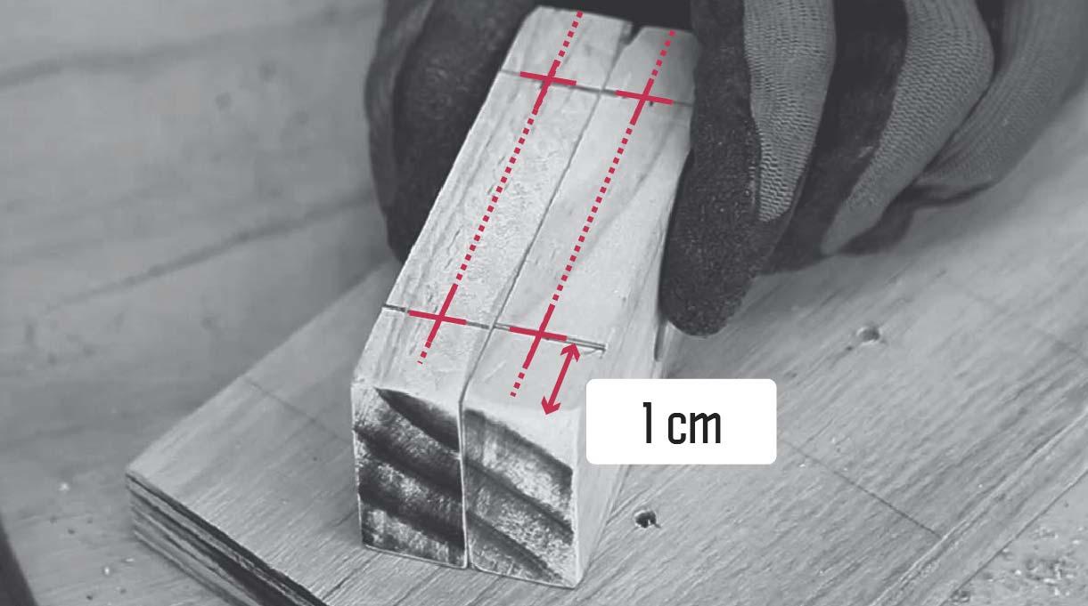 marcar los soportes a 1 cm desde cada borde