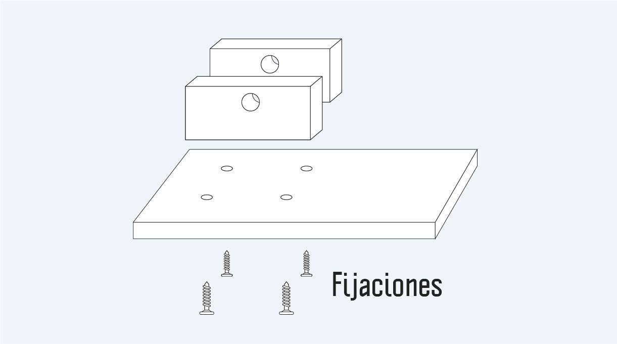 fijaciones, base y soporte de la lámpara reciclada