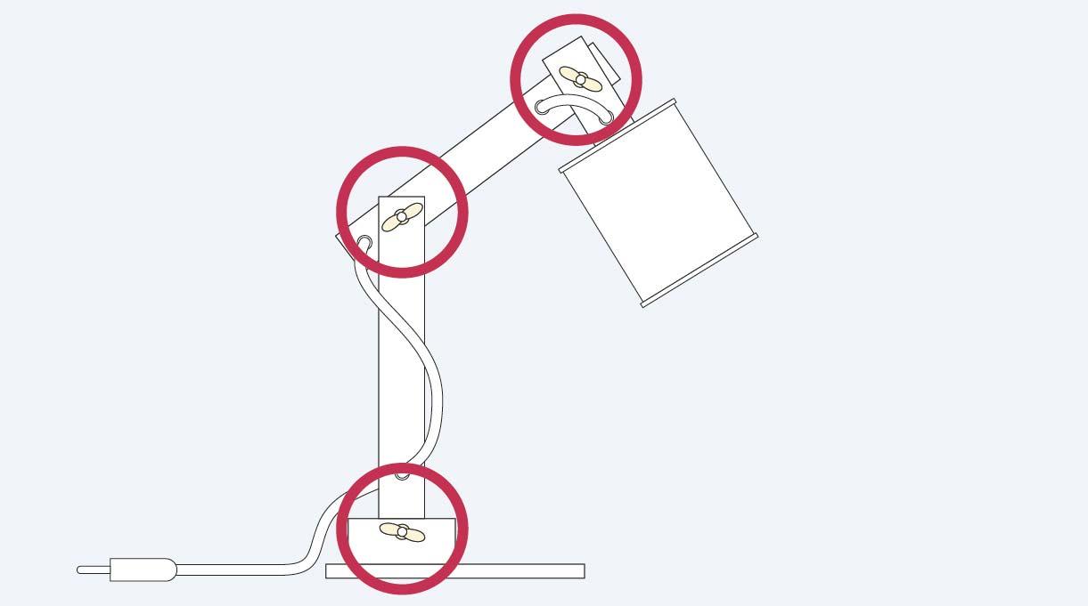 usar 3 tuercas mariposa para el armado del brazo articulado