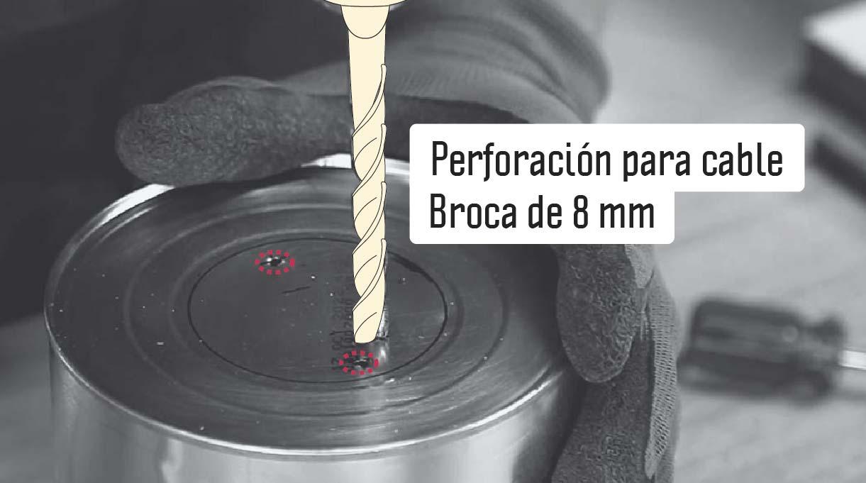 perforar en la base del tarro para pasar el cable eléctrico con broca de 8 mm