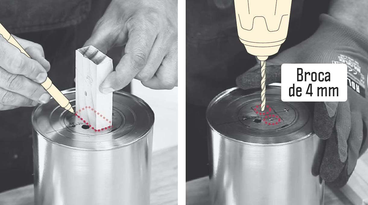marcar contorno de un trozo de madera 2x1 en la base del tarro y luego perforar con broca de 4 mm dentro del contorno