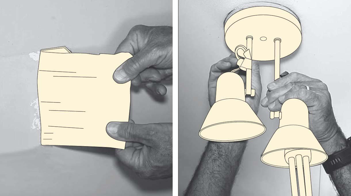 Sacar fotos de muros y la lámpara del techo antes de pintar