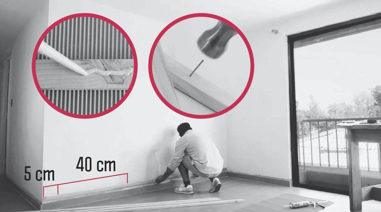 medidas para instalar en el muro el marco