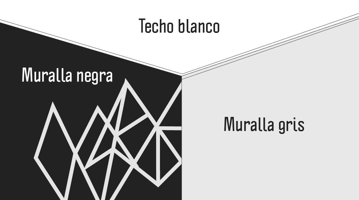 techo pintado de blanco, muralla gris y muralla negra
