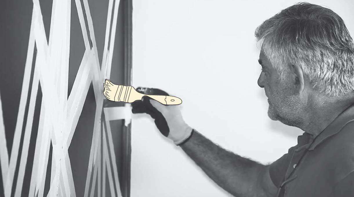 Rellenar con pintura los espacios en blanco dentro de la cinta de enmascarar