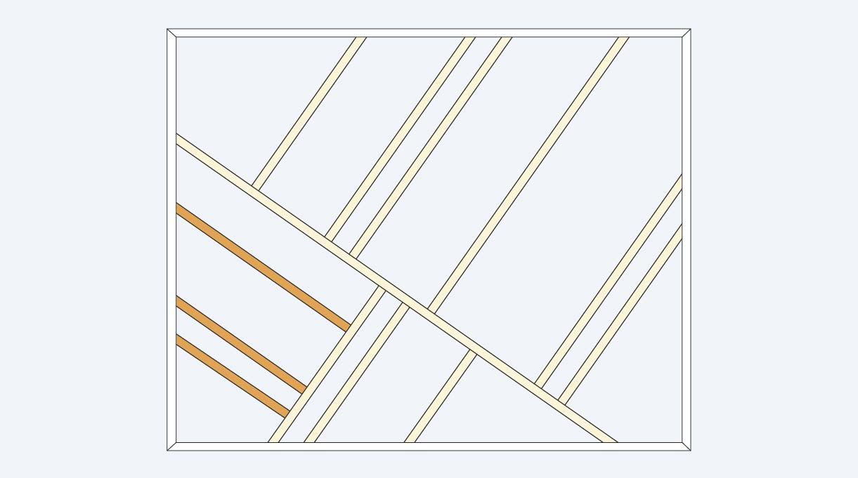 dibujo del diseño de las molduras con las molduras inferiores a la izquierda destacadas