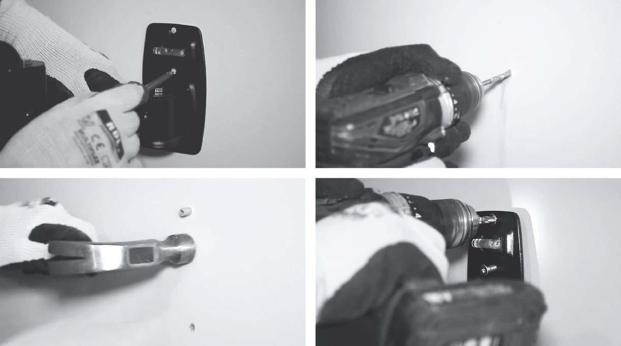 marcar, perforar, colocar tarugos e instalar el soporte de pantalla en el muro