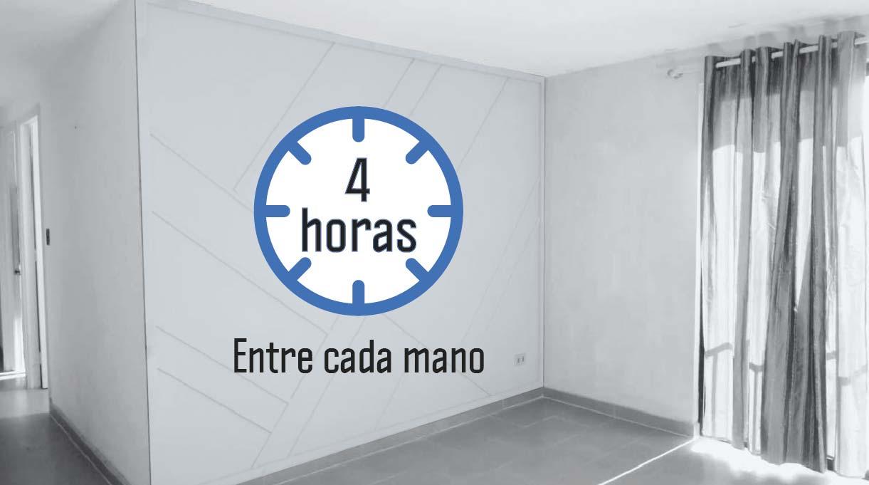 imagen de reloj que indica 4 horas de espera entre cada mano de pintura