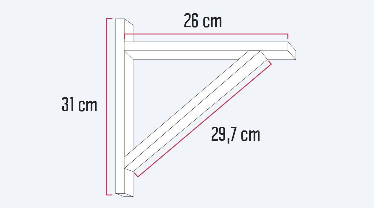medidas de las 3 maderas que conforman la lámpara escuadra
