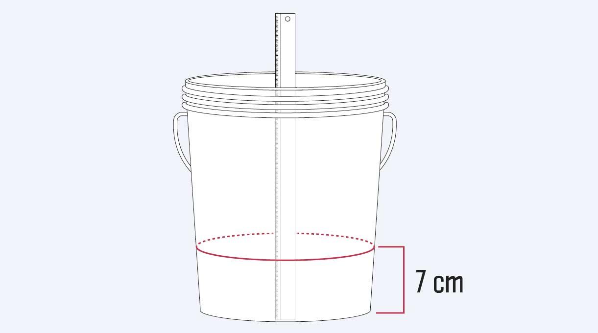 marcar el tarro a 7 cm desde su interior