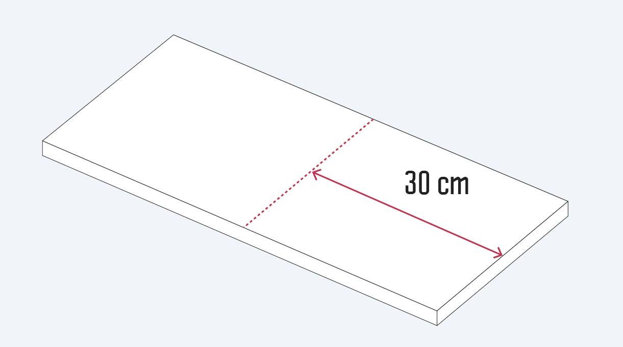 cortar la madera en un trozo de 30 cm