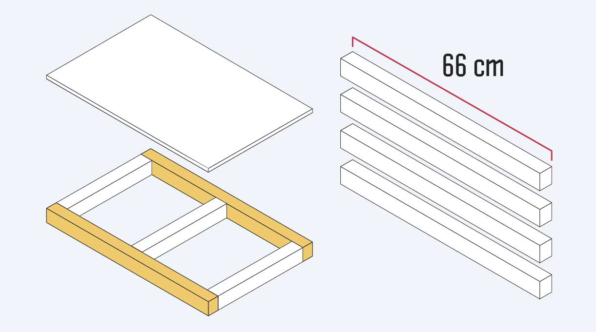 cortar 6 trozos de 66 cm de madera para hacer los frontales y traseros de la bandeja de la cama velador