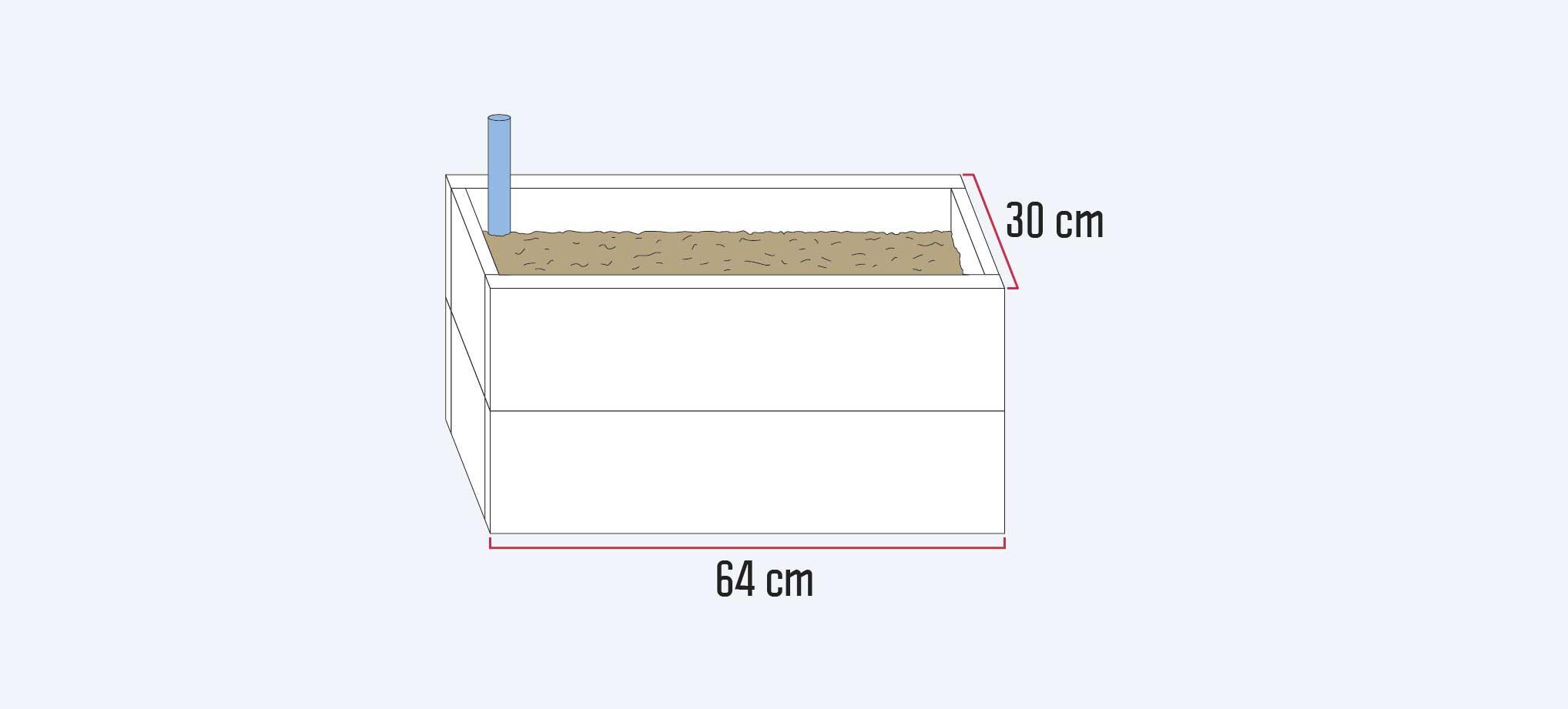 caja de 64 x 30 cm