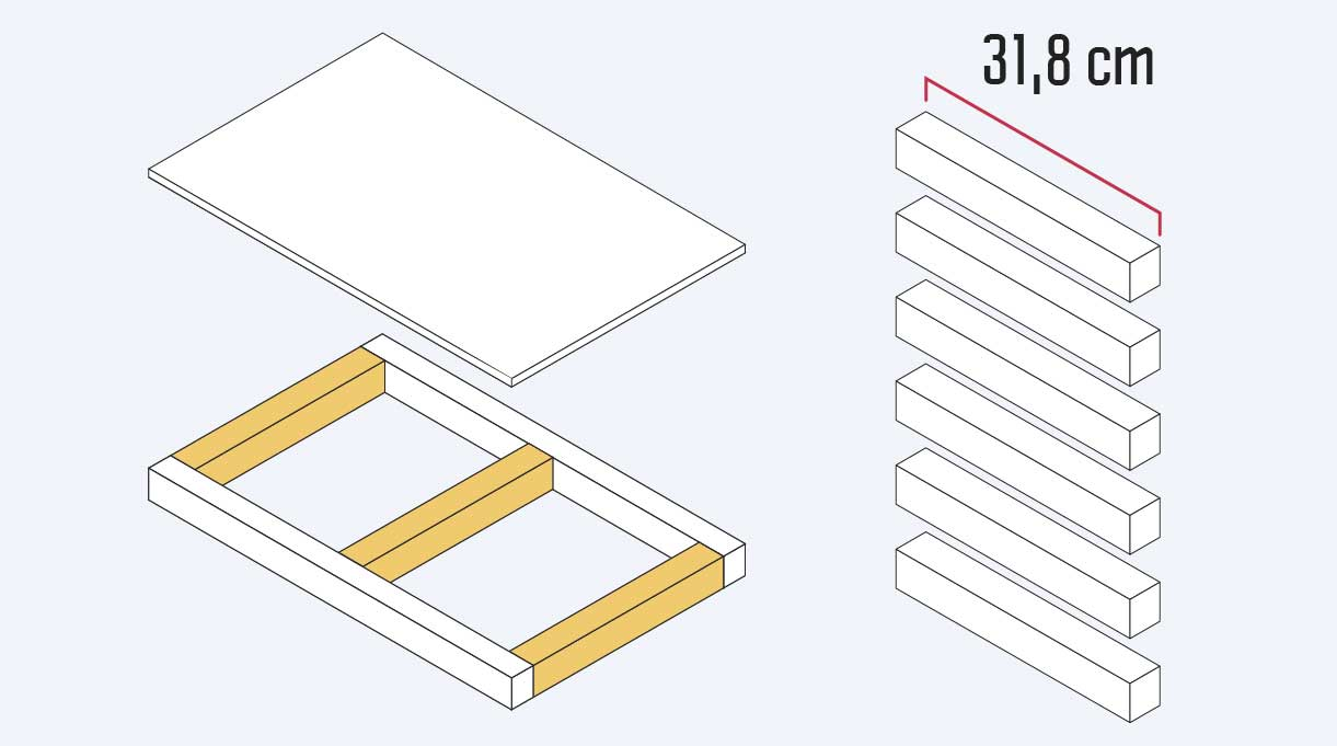 Cortar 6 trozos de madera de 31,8 cm para hacer los laterales y los centrales de las bandejas de la cama velador