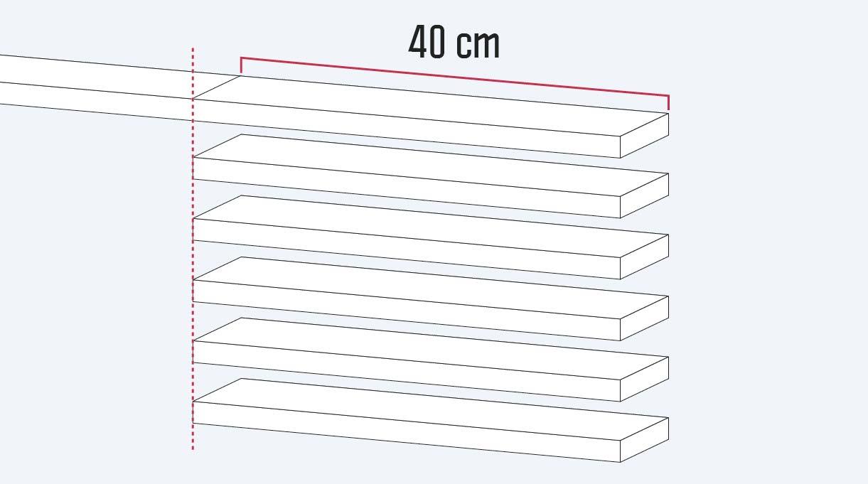 cortar la madera en 6 trozos de 40 cm