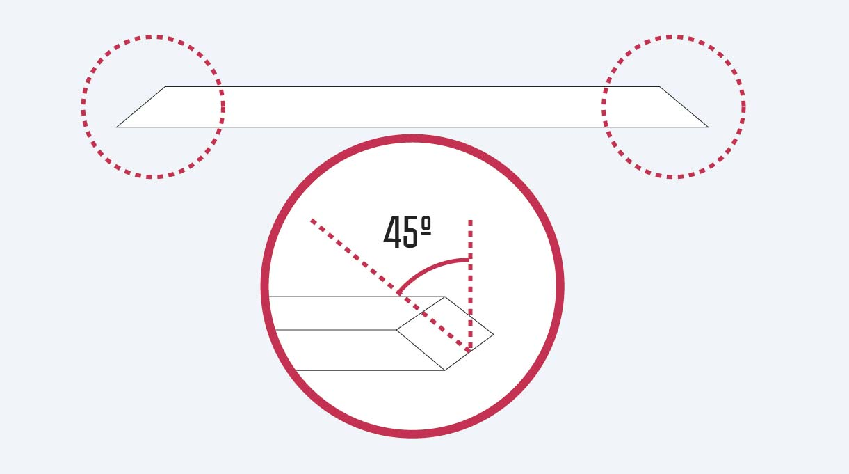 Hacer un corte de 45° en un extremo del trozo de 29,7 cm