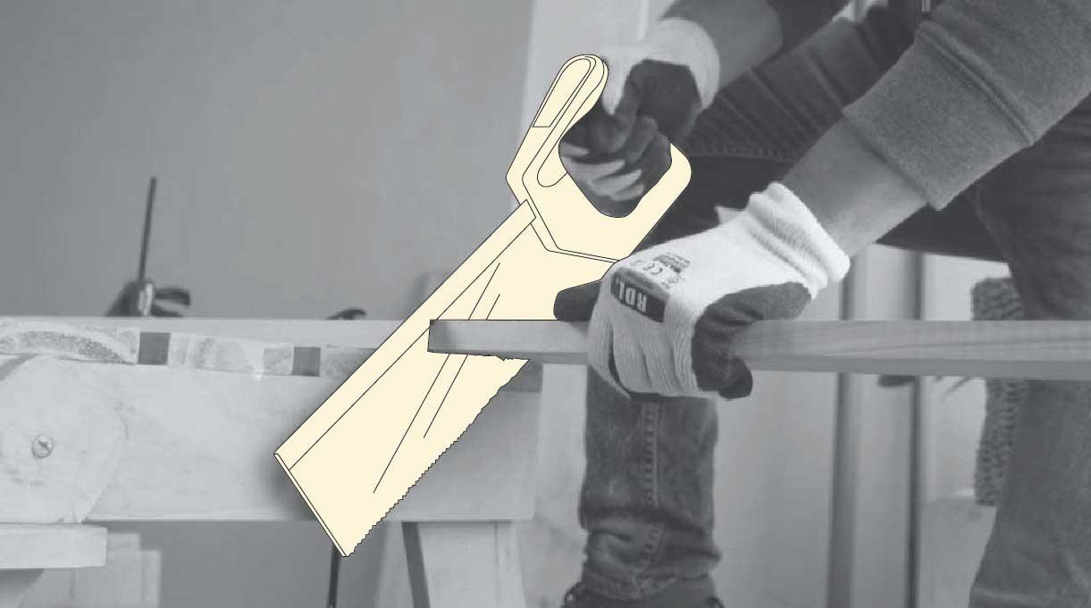 cortar la madera con serrucho