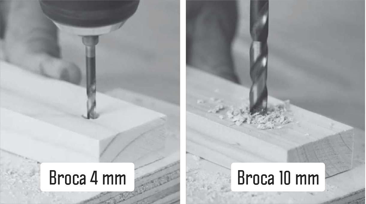 Broca de 4 mm y broca de 10 mm perforando los trozos de madera