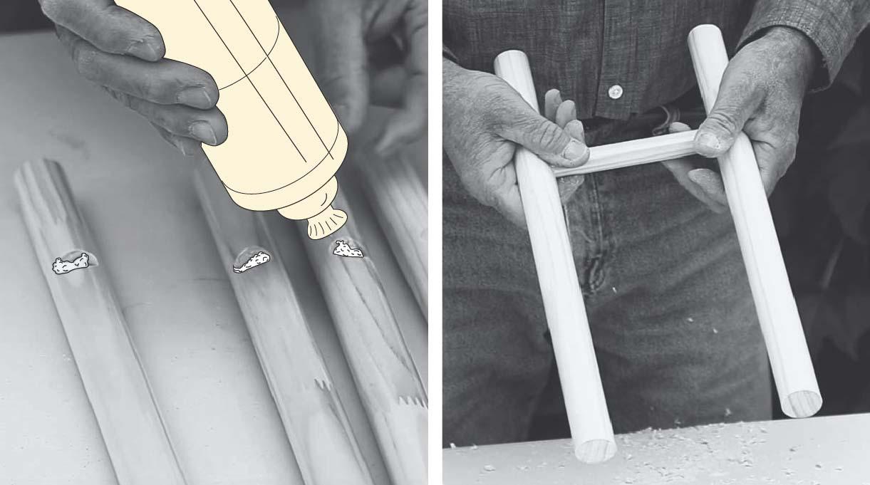 colocar cola fría en las perforaciones y pegar los travesaños a las patas