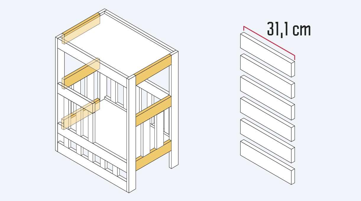 """dimensionar la madera de 1 x 3"""" en 6 trozos de 31,1 cm que son los laterales del velador"""
