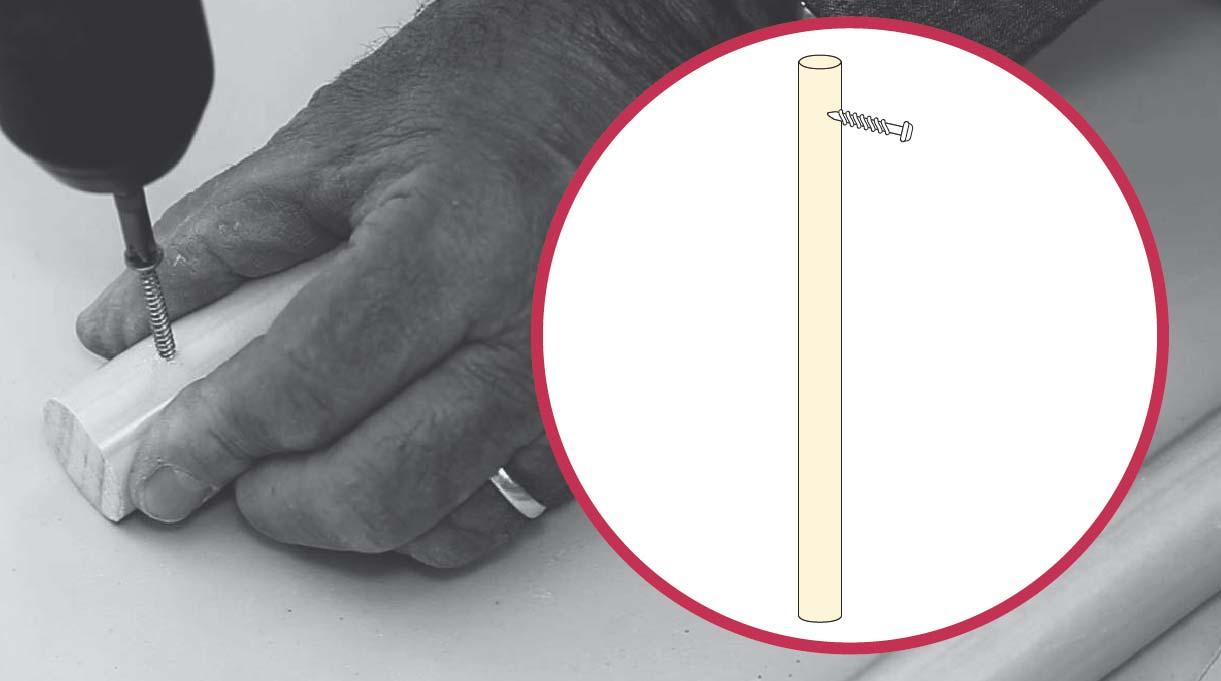 colocar un tornillo en el extremo de las patas del banquito de concreto